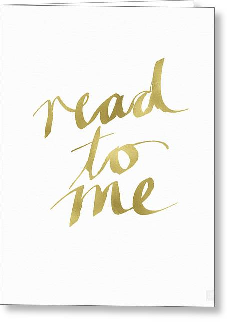 Read To Me Gold- Art By Linda Woods Greeting Card by Linda Woods