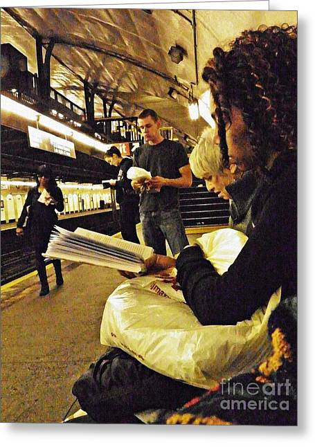 Readers On The A Train Platform Greeting Card by Sarah Loft