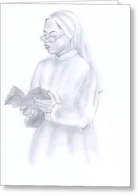Reading African Nun Greeting Card by Emmanuel Baliyanga