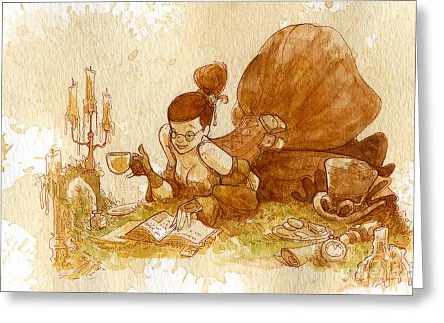 Steampunk Greeting Cards - Reading Greeting Card by Brian Kesinger
