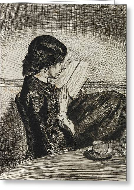 Reading By Lamplight Greeting Card