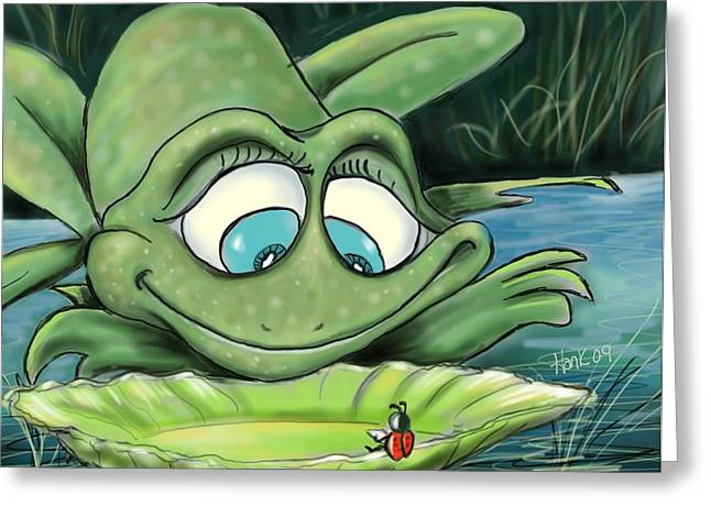 Reading By The Pond Greeting Card by Hank Nunes