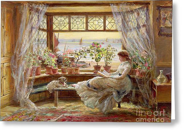 Dogs Paintings Greeting Cards - Reading by the Window Greeting Card by Charles James Lewis