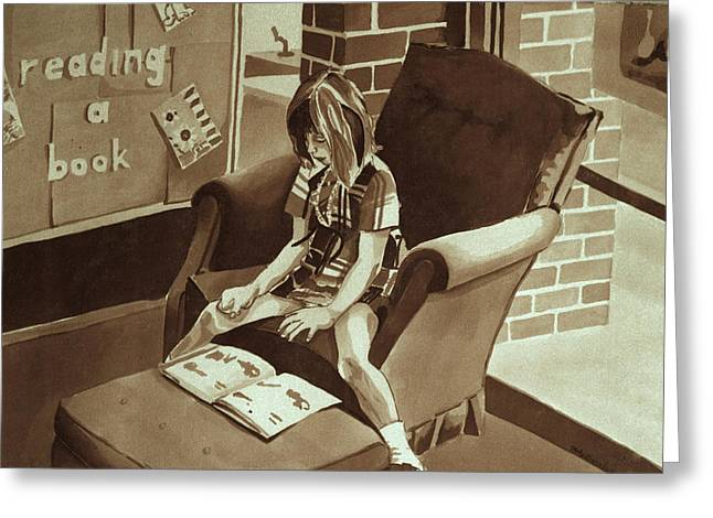 Reading Corner Greeting Card by Judy Swerlick