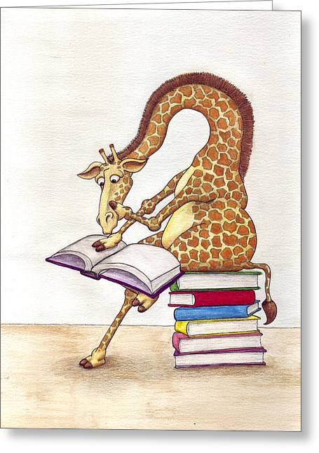 Reading Giraffe Greeting Card by Julia Collard