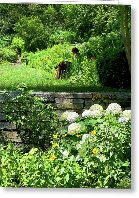 Reading In The Garden Greeting Card by Susan Savad