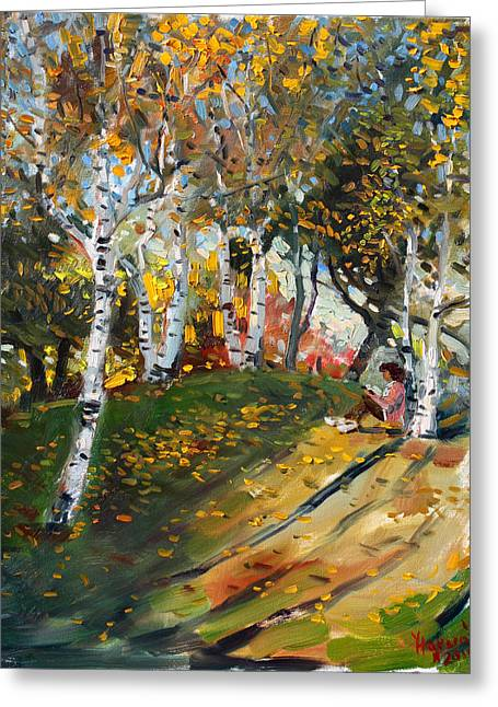 Reading In The Park  Greeting Card by Ylli Haruni