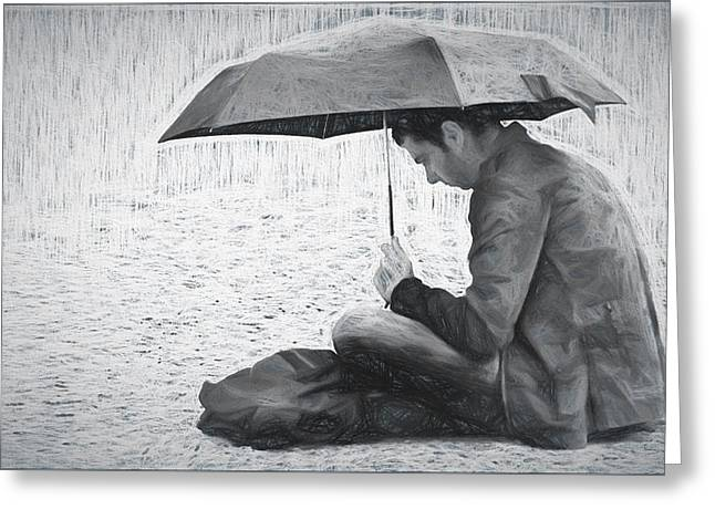 Reading In The Rain - Umbrella Greeting Card by Nikolyn McDonald