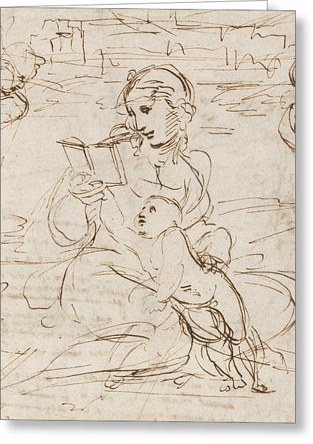 Reading Madonna And Child In A Landscape Betweem Two Cherub Heads Greeting Card by Raphael