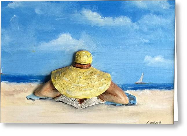 Reading On The Beach Greeting Card