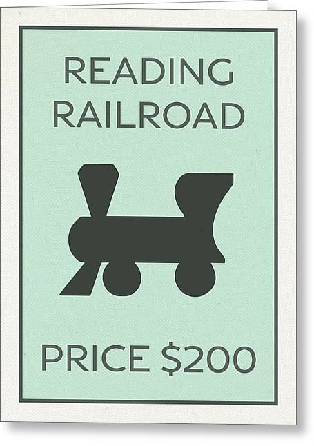 Reading Railroad Vintage Monopoly Board Game Theme Card Greeting Card