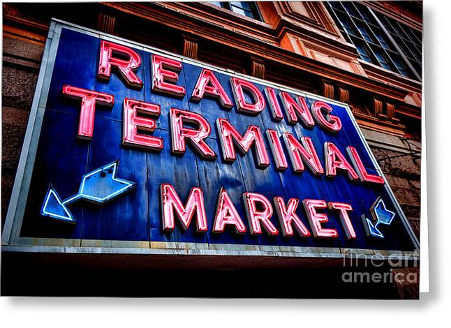 Reading Terminal Market Neon Sign Greeting Card by Olivier Le Queinec