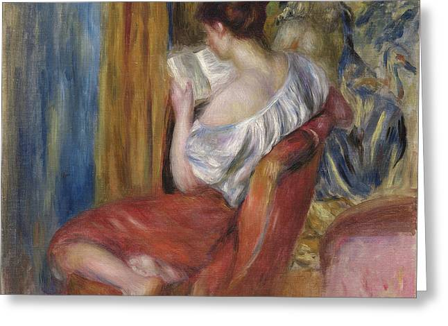 Reading Woman  1900 Greeting Card by Pierre Auguste Renoir