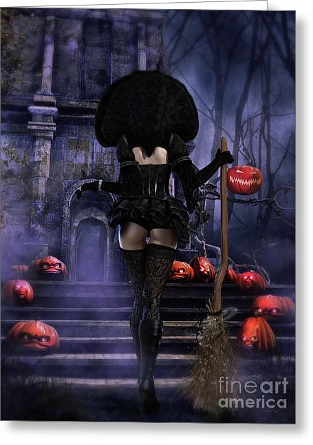 Ready Boys Halloween Witch Greeting Card by Shanina Conway