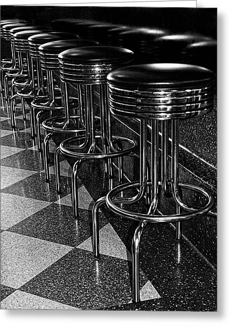 Ready For Business - Stools Along The Counter Greeting Card by Mitch Spence