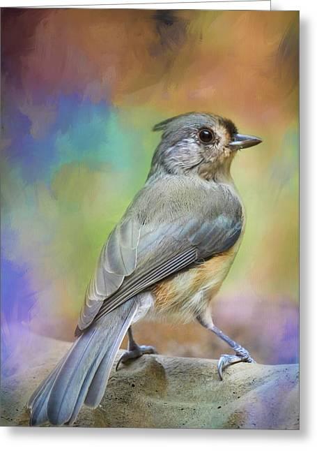 Ready For The Morning Bath Songbird Art Greeting Card