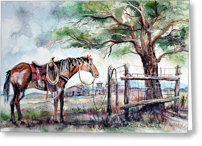 Greeting Card featuring the painting Ready by Linda Shackelford