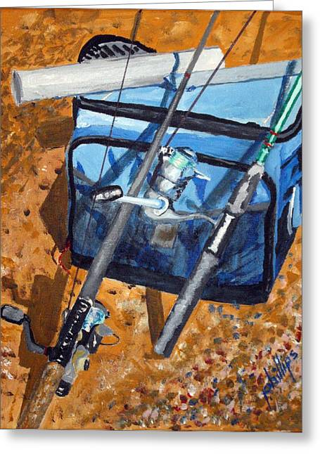 Greeting Card featuring the painting Ready To Fish by Jim Phillips