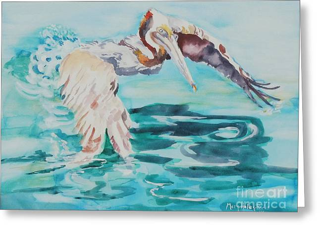 Greeting Card featuring the painting Ready To Take Off by Mary Haley-Rocks