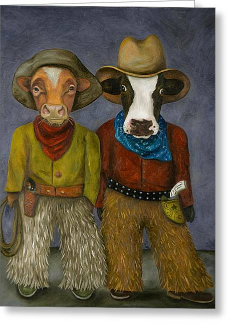 Real Cowboys Greeting Card by Leah Saulnier The Painting Maniac