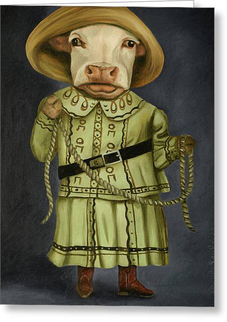 Greeting Card featuring the painting Real Cowgirl 2 by Leah Saulnier The Painting Maniac