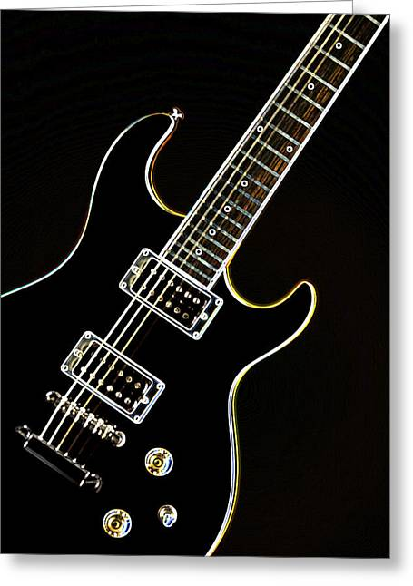 Mac K Miller Greeting Cards - Real Electric Guitar Greeting Card by M K  Miller