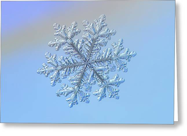 Greeting Card featuring the photograph Real Snowflake - Hyperion by Alexey Kljatov