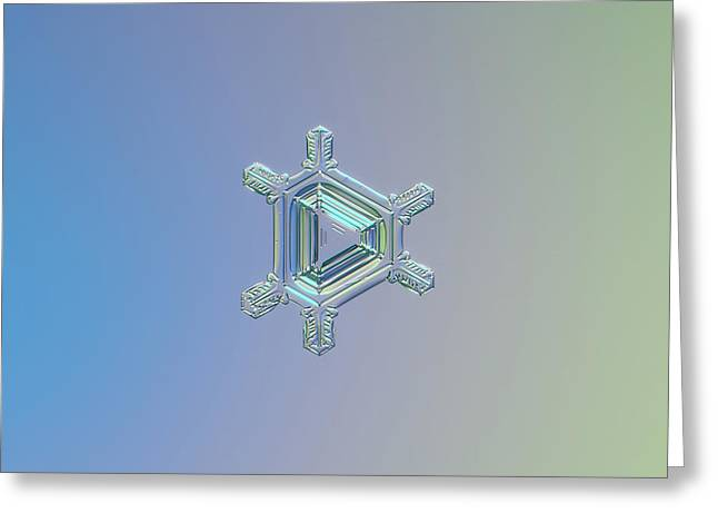 Real Snowflake Photo - Emerald Greeting Card by Alexey Kljatov