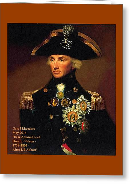 Rear-admiral Lord Horatio Nelson - 1758-1805 - After L F Abbott P A Greeting Card