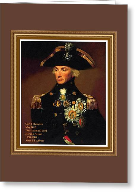 Rear- Admiral Lord Horatio Nelson - 1758-1805 After L F Abbott. P A With Decorative Printed Frame. Greeting Card