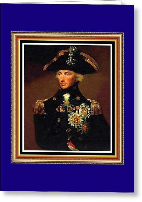 Rear- Admiral Lord Horatio Nelson - 1758-1805 After L F Abbott. P B With Alt. Ornate Printed Frame. Greeting Card