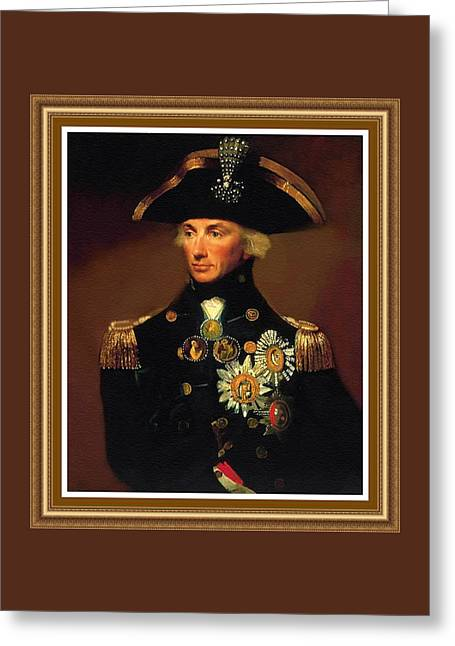 Rear- Admiral Lord Horatio Nelson - 1758-1805 After L F Abbott. P B With Decorative Printed Frame. Greeting Card