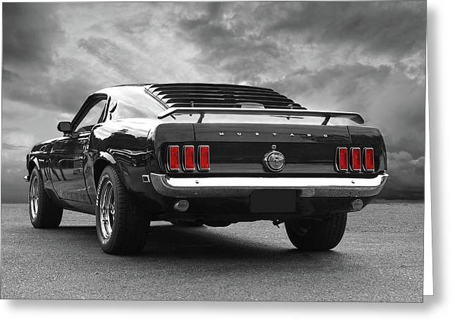 Rear Of The Year - '69 Mustang Greeting Card by Gill Billington