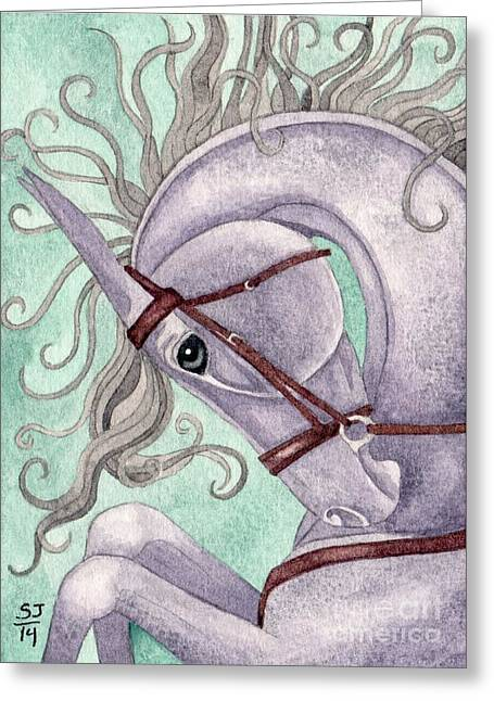 Rearing Amethyst Horse Greeting Card by Suzanne Joyner