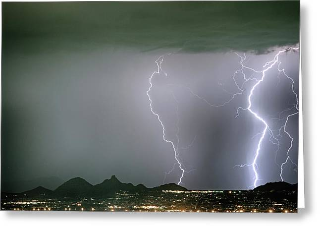 Reata Pass City Lights Lightning Strikes Greeting Card by James BO Insogna