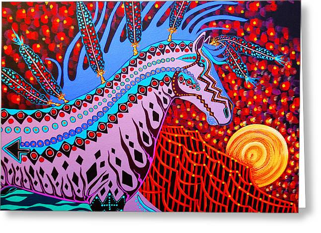Greeting Card featuring the painting Rebel Moon by Debbie Chamberlin