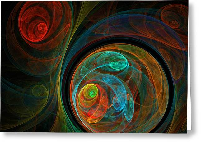 Abstract Art Greeting Cards - Rebirth Greeting Card by Oni H