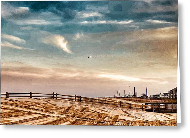 Rebuilding The Ortley Dunes  Greeting Card by Vincent DeLucia