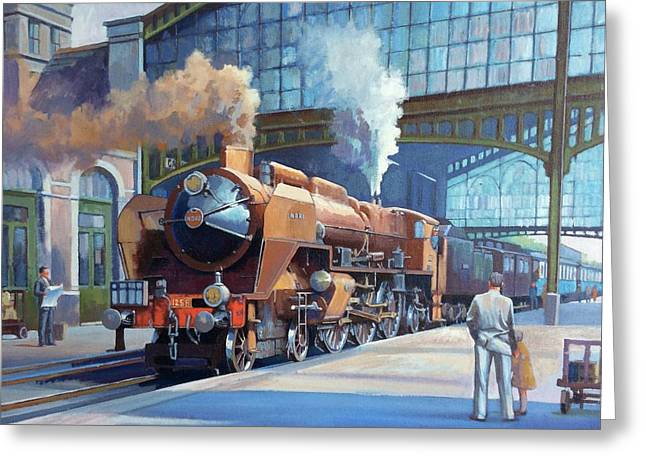 Rebuilt Chapelon Pacific At Calais. Greeting Card by Mike  Jeffries