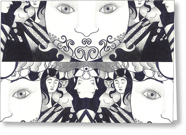 Recalling The Goddess 1 Greeting Card by Helena Tiainen