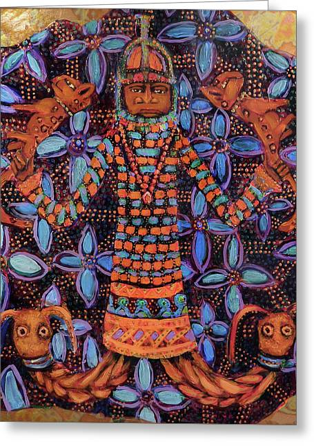 reCalling the Spirit Mudfish and Leopards Greeting Card