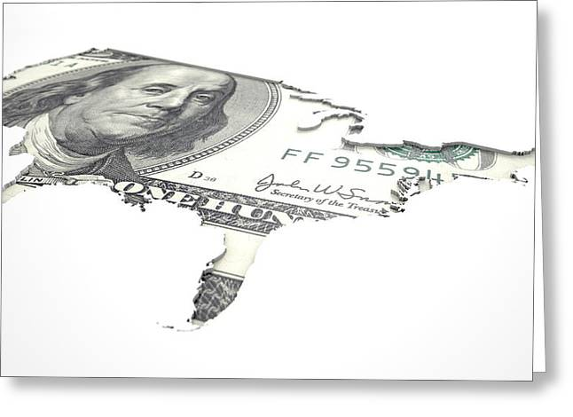 Recessed Country Notes Usa Greeting Card by Allan Swart