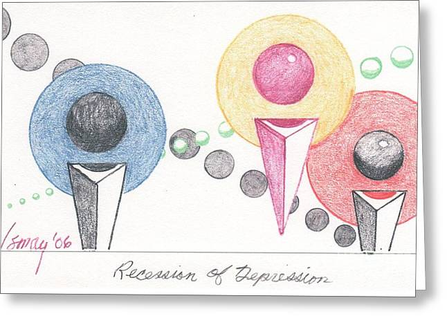 Greeting Card featuring the drawing Recession Of Depression 1 by Rod Ismay