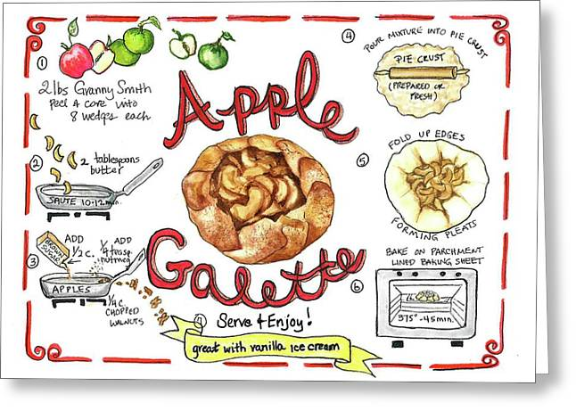 Greeting Card featuring the painting Recipe- Apple Galette by Diane Fujimoto