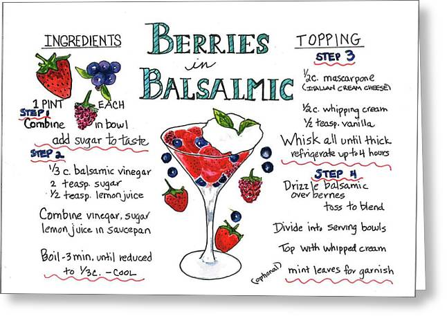 Greeting Card featuring the painting Recipe- Berries In Balsamic by Diane Fujimoto