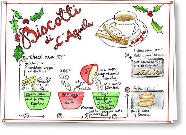 Greeting Card featuring the painting Recipe Biscotti by Diane Fujimoto