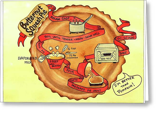 Greeting Card featuring the painting Recipe-butternut Squash Pie by Diane Fujimoto