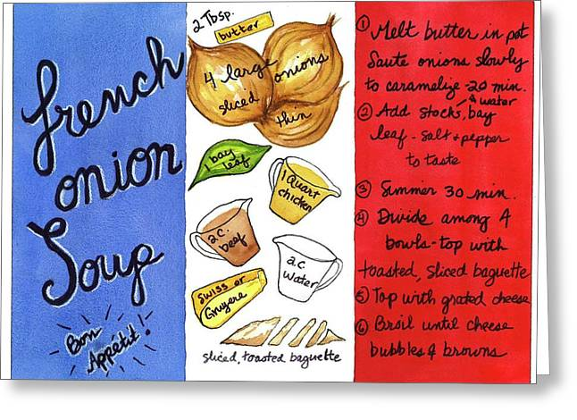 Greeting Card featuring the painting Recipe French Onion Soup by Diane Fujimoto