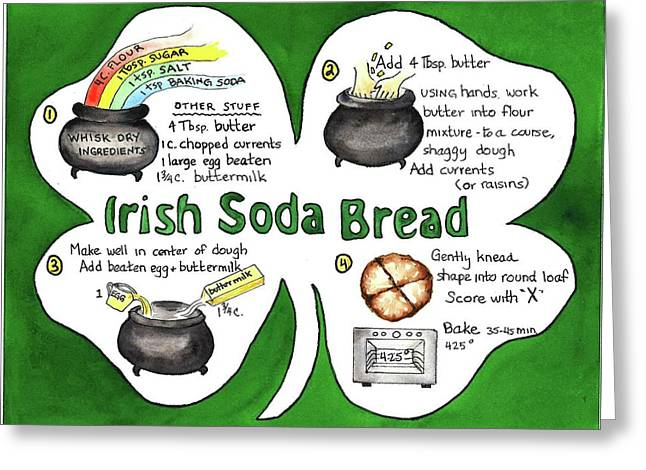 Greeting Card featuring the painting Recipe - Irish Soda Bread by Diane Fujimoto