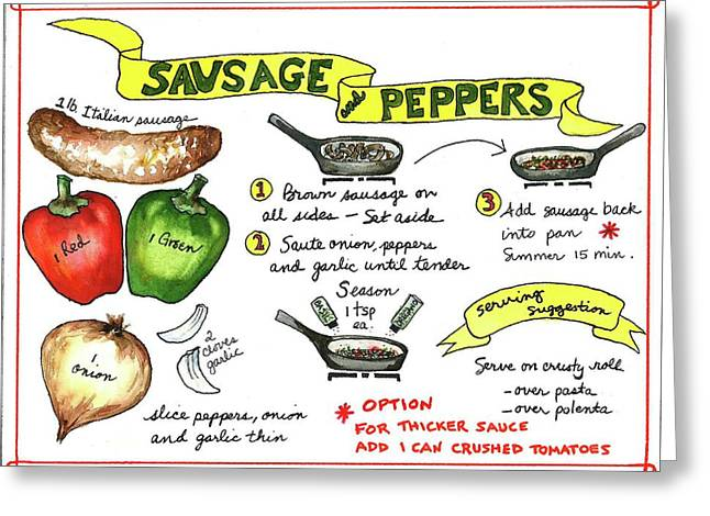 Greeting Card featuring the painting Recipe Sausage And Peppers by Diane Fujimoto